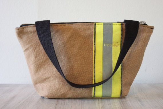 Recycled Firefighter Gear handbag with zipper closure, mini tote, bunker gear bag on Etsy, $89.00