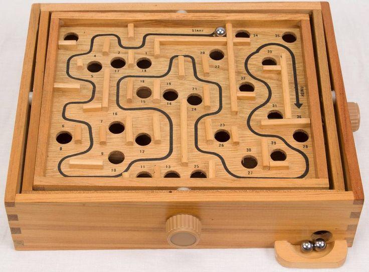 Vintage Wooden Labyrinth Tilting Balance Maze Game