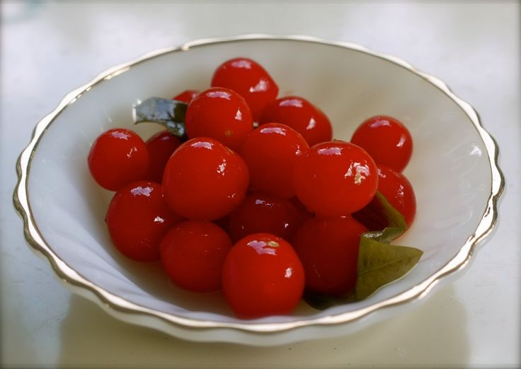 Fermented Grape Tomatoes with basil and bay leaves
