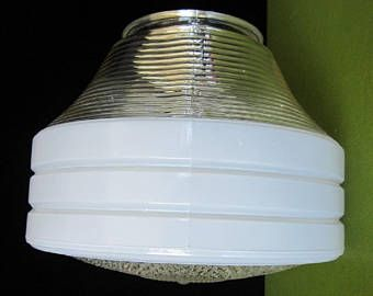 2 VTG ANTIQUE ART DECO INDUSTRIAL SCHOOLHOUSE LIGHT FIXTURE GLASS GLOBE SHADE