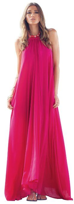 Amazon.com: An Elan Usa Maxi Halter Tie Flowy Long Dress (RY597): Clothing