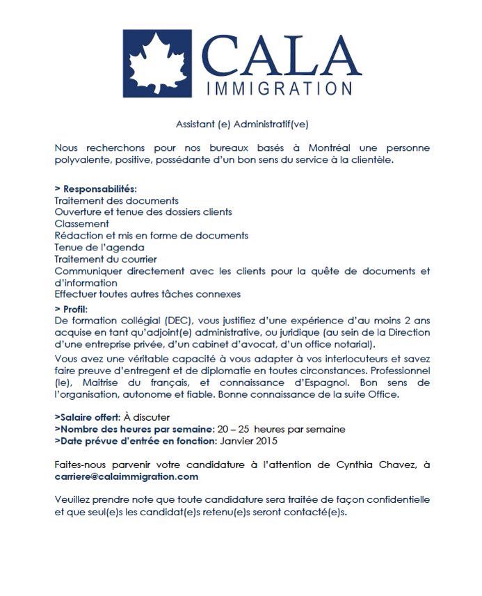 Great career opportunity @CALA Immigration! Join our team!