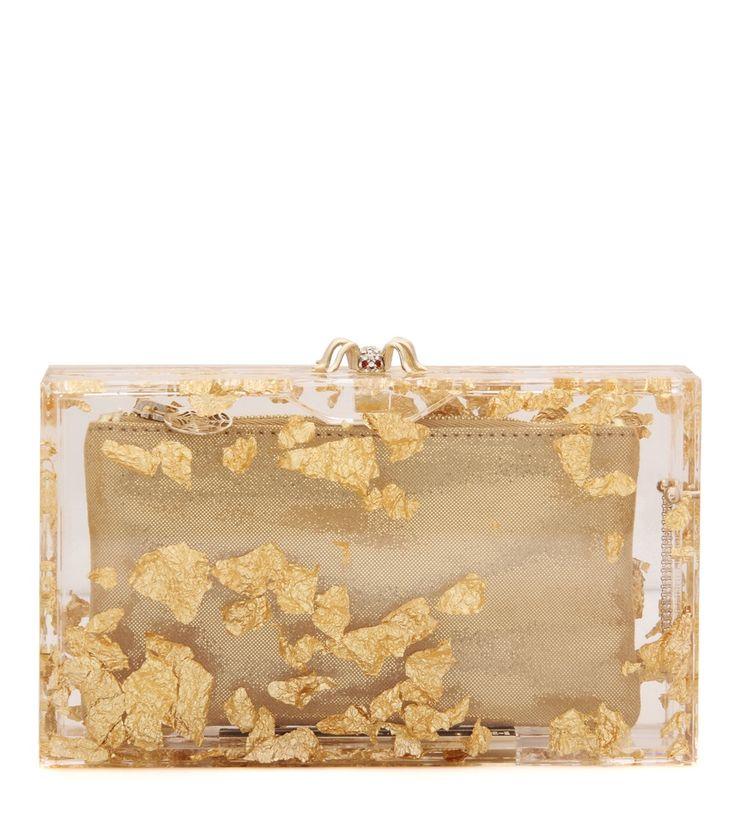 Transparent-goldfarbene Boxclutch Pandora By Charlotte Olympia