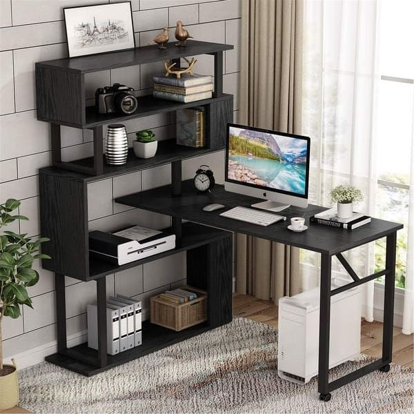 Overstock Com Online Shopping Bedding Furniture Electronics Jewelry Clothing More L Shaped Corner Desk Rotating Computer Desk Computer Desk With Shelves