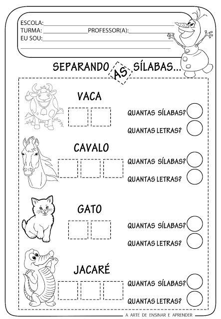 A Arte de Ensinar e Aprender: Atividade pronta - Sílabas