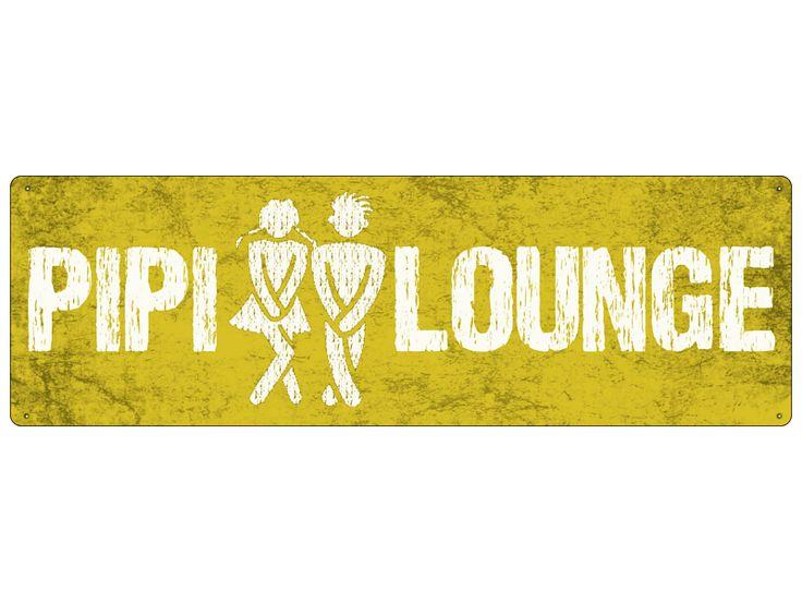 PIPI LOUNGE gelb WC Bad Blechschild Metall Schild von Interluxe via dawanda.com