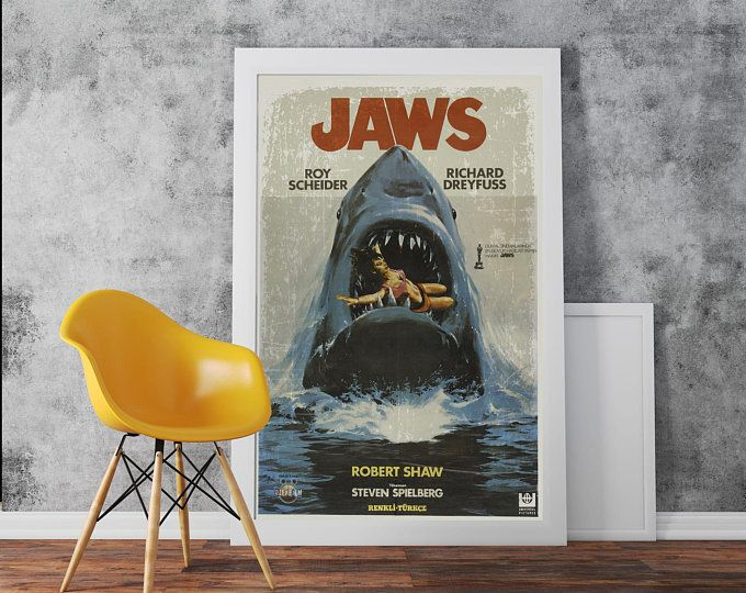 Jaws Movie Poster A3 A2 Print Etsy Movie Wall Art Poster Prints Posters Art Prints