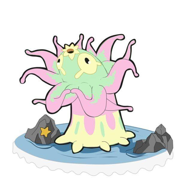 """Conozcan a....VENEMONA, de tipo Agua-Planta. -Es la evolución de pezemona y posee la habilidad """"punto tóxico""""...éste vive en el fondo del mar al igual que su pre-evolución. - -encontrarán a Venemona deste otro ángulo ya que éste al estar pegado al fondo del mar o rocas posee una vista periférica particular- ¡Espero que les guste! #fakemon #fakemonart #pokemonart #pokemon #pokedex #pokefan"""