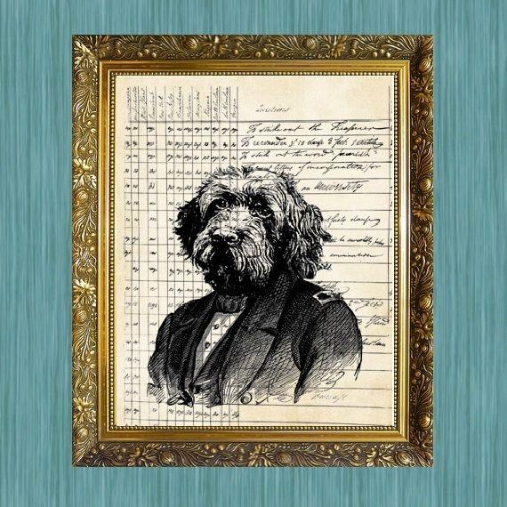 Dog on Antique Document Print Dog Art by HamiltonHousePrints2