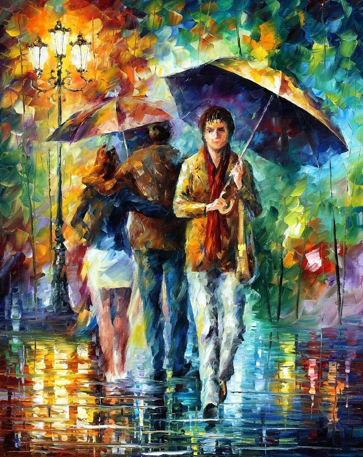 STRONG RAIN - PALETTE KNIFE Oil Painting On Canvas By Leonid Afremov…