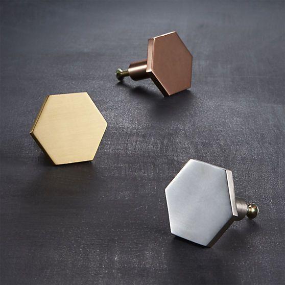 hex shiny copper knob | CB2