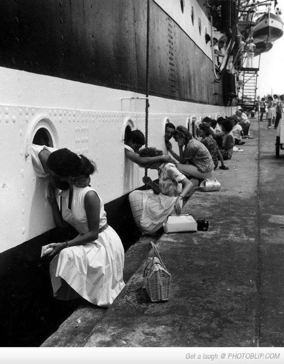 Kissing the sailors goodbye