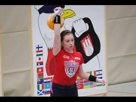 14 year old Rylee Reeves in Hamburg, Germany competing with the 16kg kettlebell against adults.