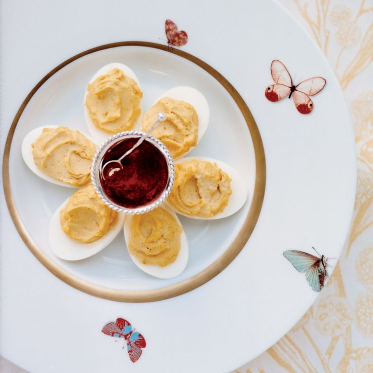 """""""I love deviled eggs because they are so old-fashioned and yummy,"""" says Alexis Swanson Traina. This classic version, made with two kinds of mustard an..."""