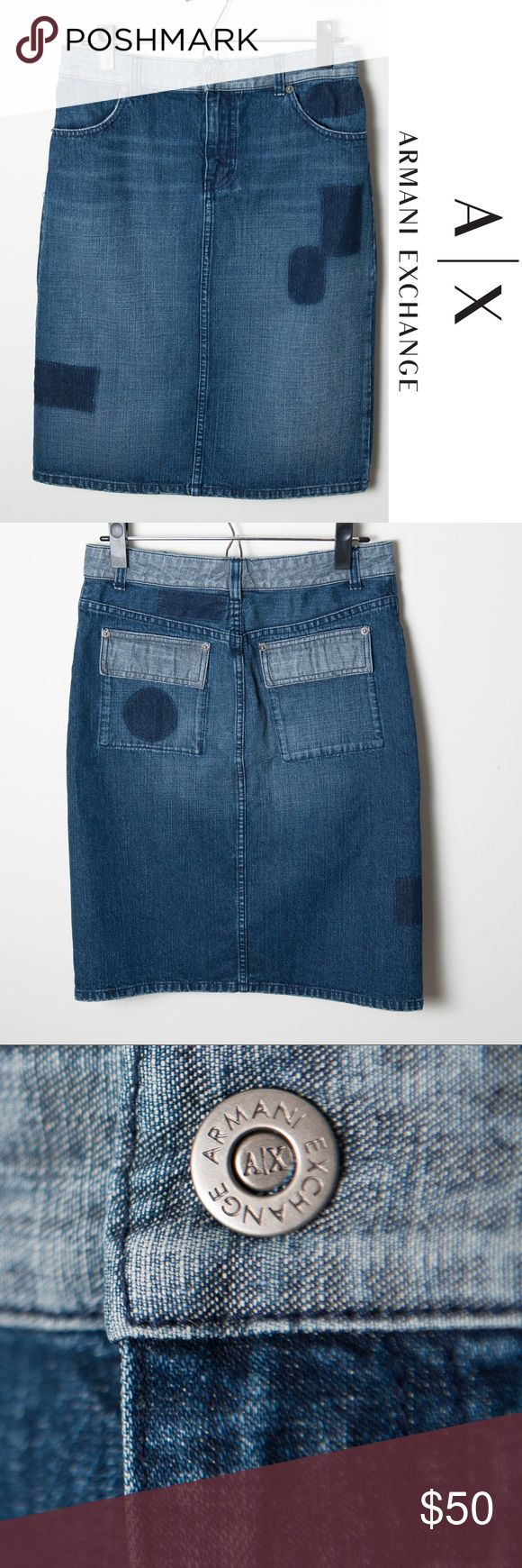 """Armani Exchange Denim Skirt Size 2 Great used condition Armani Exchange denim skirt. Size 2. Has """"patchwork"""" denim of different shades. Not actual patches, but just change in shade. Zip and button closure.  Button is finicky, sometimes it doesn't stay snapped. Can be an easy fix by replacing if you didn't want to use the A/X button anymore. Approximate measurements - 24"""" waist, 22"""" length. A/X Armani Exchange Skirts Pencil"""
