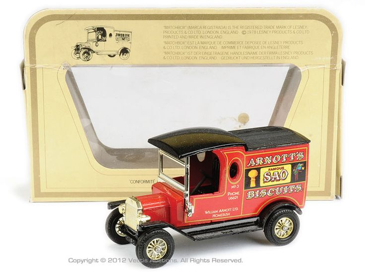 """Matchbox Models of Yesteryear No.Y12-3-1 Ford Model T Van """"Arnotts Biscuits"""" - red body, gloss black chassis and roof, 12-spoke gold wheels, single labels - rare issue - Near Mint in Excellent type I box."""