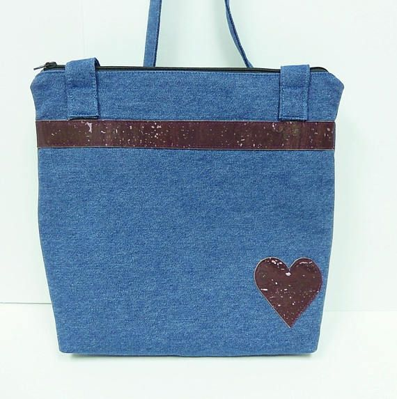 Crossbody Denim Shoulder Bag with Cork Accent and Heart