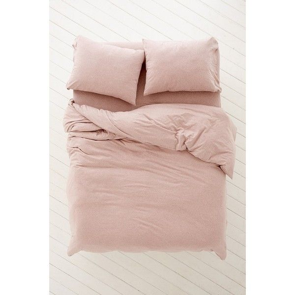 Heathered Jersey Duvet Cover (475 RON) ❤ liked on Polyvore featuring home, bed & bath, bedding, duvet covers, pink, filler, jersey knit bedding, pink bedding, boho style bedding and boho bedding