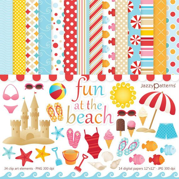 Beach Clipart And Digital Paper Pack Fun At The Instant Download DK001
