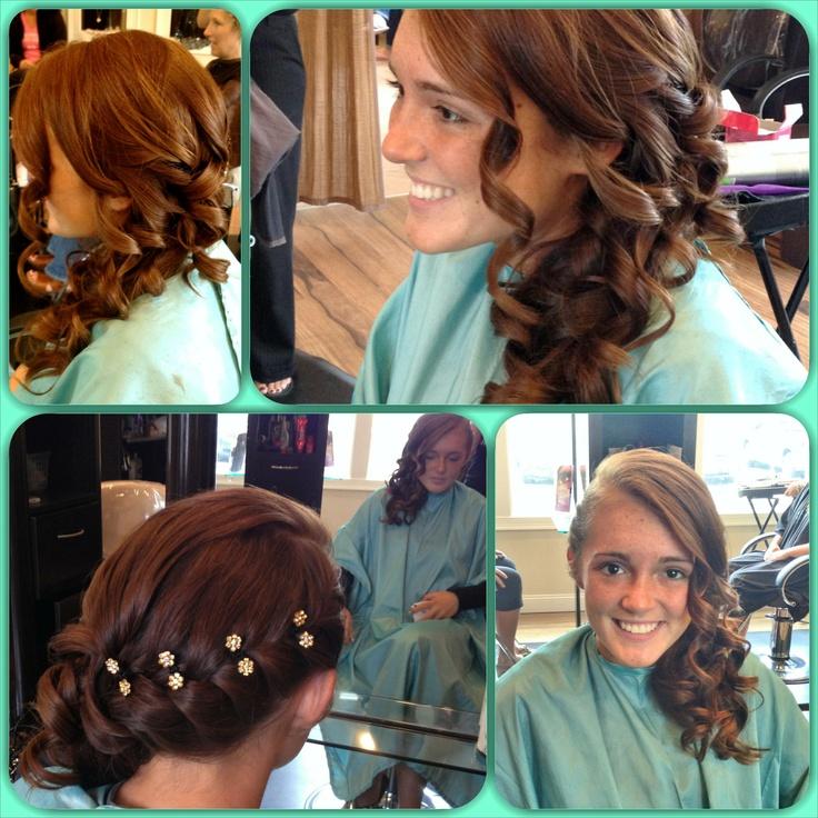 Prom wedding updo braid side ponytail curls bling