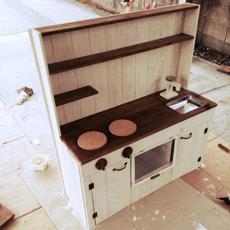ニトリのカラーボックス/セリア/DIY挑戦!/おままごとキッチンDIY /リビング…などのインテリア実例 - 2015-05-31 23:22:46 | RoomClip(ルームクリップ)
