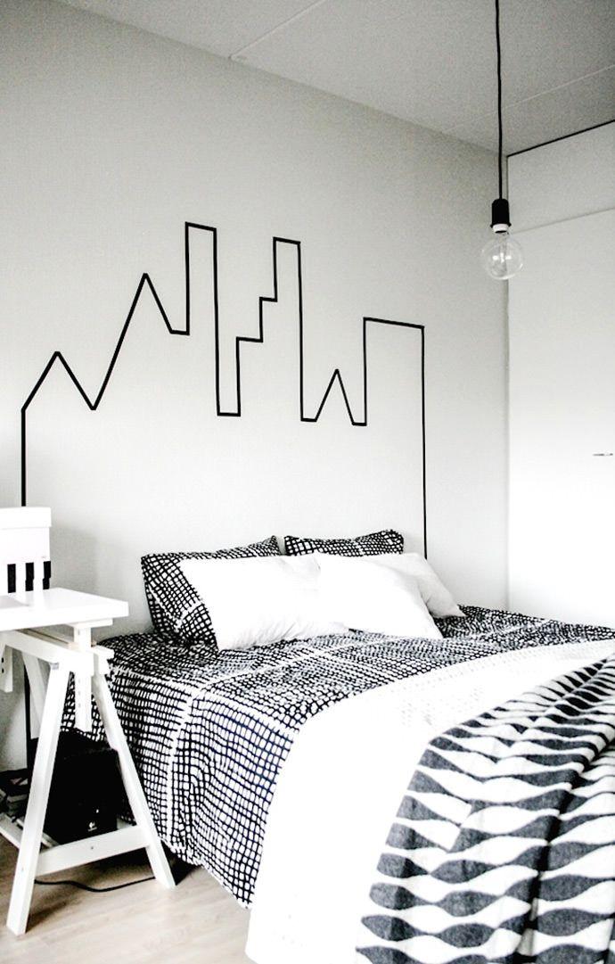 Une tête de lit facile à réaliser avec du masking tape