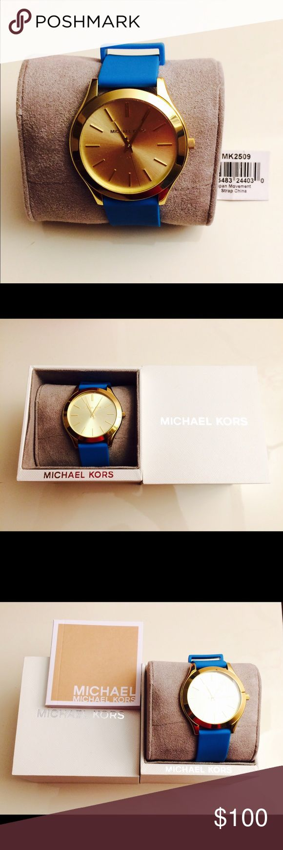 Michael Kors women's strap watch Michael Kors women's slim runaway sporty teal silicone strap watch. Brand new in a box with booklet and tag on. Michael Kors Jewelry
