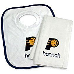Designs by Chad and Jake Baby Personalized Name Indiana Pacers Bib and Burp Cloth Set One Size White