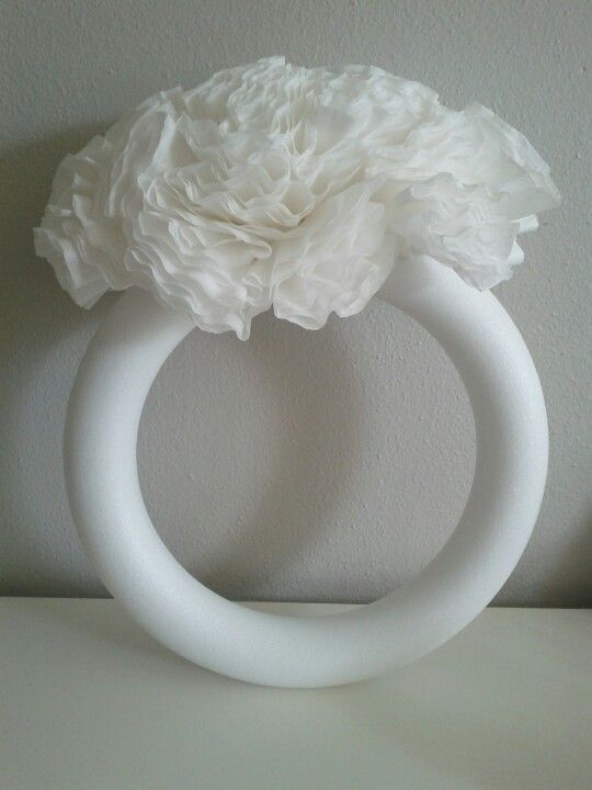"""Engagement ring"" made out of Styrofoam wreath & coffee filters. Easy to do for a Bridal Shower!"