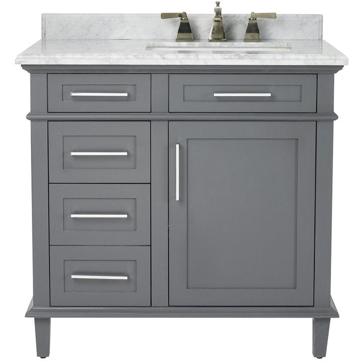 Home Decorators Collection Sonoma 36 in. Vanity in Dark Charcoal with Marble Vanity Top in Grey/White with White Basin