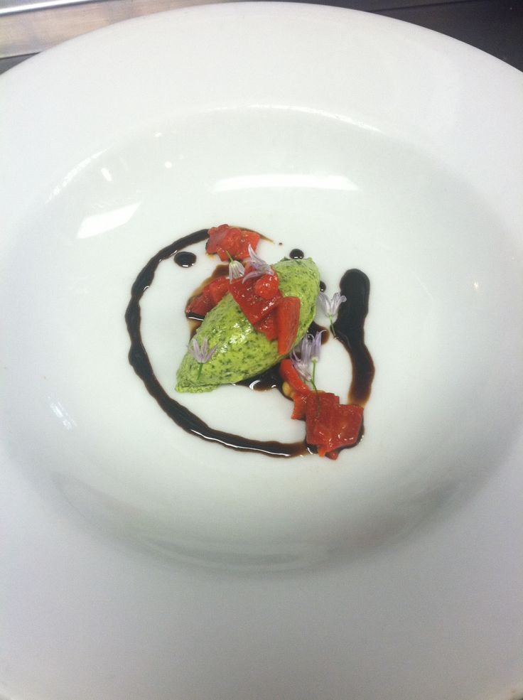 Base for a soup special: sweet balsamic reduction, basil mousse ...