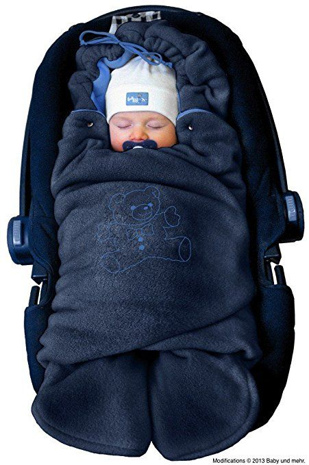 ByBoom® - Swaddling Wrap, Car Seat and Pram Blanket for Winter, Universal for infant and child car seats (e.g. Maxi-Cosi, Britax), for a pushchair/stroller, buggy or baby bed; THE ORIGINAL WITH THE BEAR, Color:Dark Blue/Blue