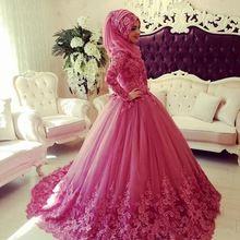 2017 Novo Vestido de Casamento Muçulmano Manga Comprida Gola Alta Lace Applique Dubai Vestidos de Noiva Do Vestido de Casamento Do Vintage com Hijab Islâmico(China (Mainland))