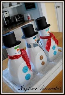 DIY Juice Bottle Snowmen