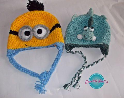 Crochet Minion and dragon hat