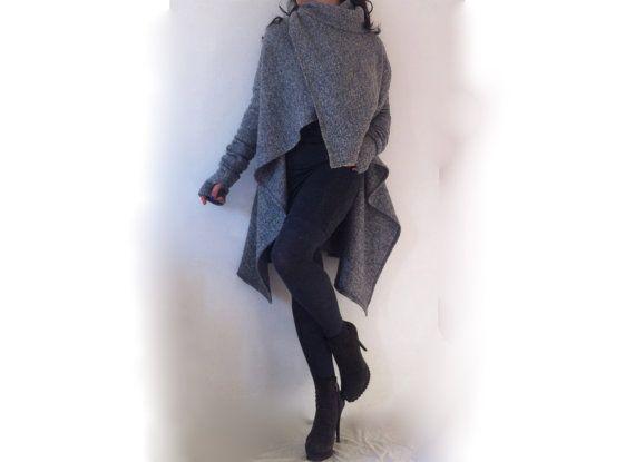 Wollen Poncho jas / Winter Womens Cape jas / door BoutiqueAlaMode