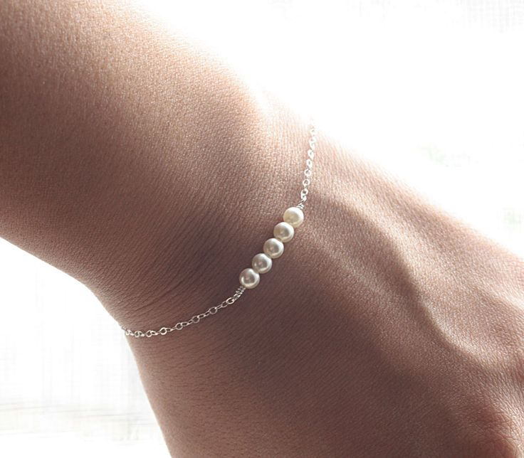 Everyday Tiny Pearl Bracelet - Tiny and Dainty Row of Swarovski Pearls, Sterling Silver Bracelet - Bridal Bracelet, Bridesmaid Bracelet. $18.00, via Etsy.