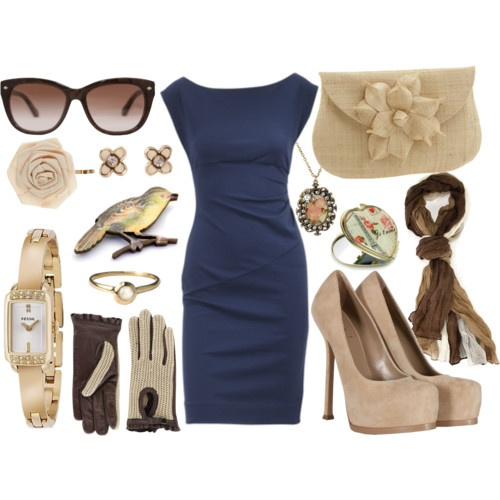 way too many accessories, and the shoes are too... trendy, but the dress is classy, the clutch is cute, and the gloves are to die for.