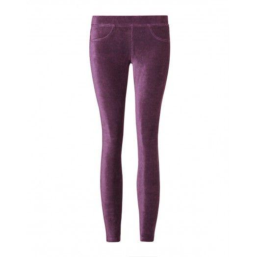 Leggings, in velluto stretch, tinta unita con finte tasche frontali.4DZB571S4 purple