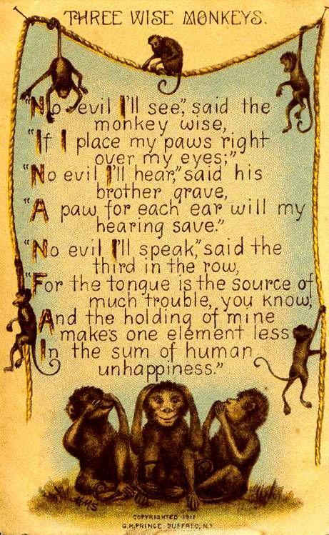 Three wise monkeys poem