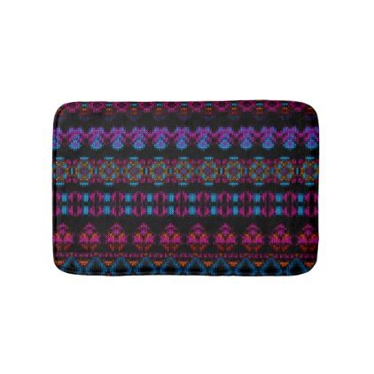 Ethnic Knitted pattern blues and purple on black Bath Mat - home gifts ideas decor special unique custom individual customized individualized
