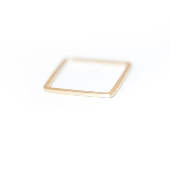 Square Ring in Gold Gold Ring Square Band by Peshka on Etsy