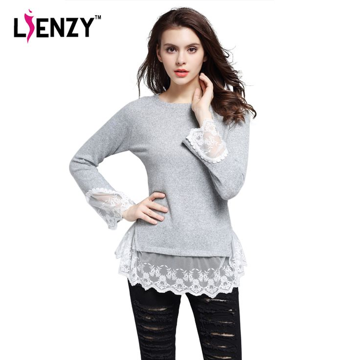 2016 Spring New Women Sweater Stitching Lace Long Sleeve Solid O Neck Lace Ruffles Blouses Womens Pullovers Elegant Grey Tops