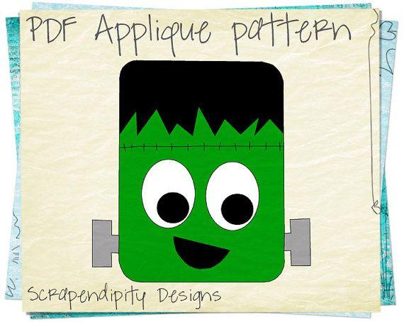 Frankenstein Applique Template  Halloween by ScrapendipityDesigns