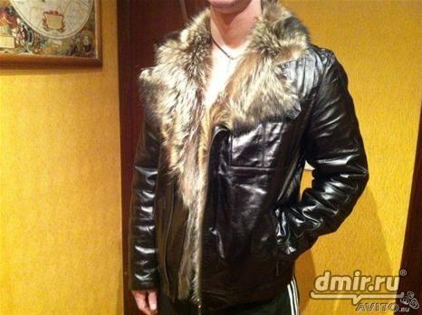 Мужские зимние куртки с мехом волка(кожаные куртки
