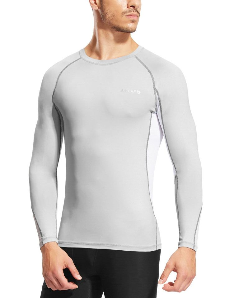 Baleaf Men's Mesh Running Fitness Compression Base layer Long Sleeve Shirts UPF 50  ** Check this awesome image  : Gift for Guys
