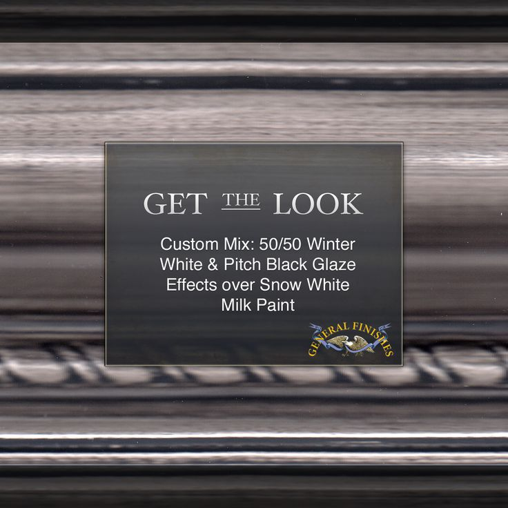 Get The Look - 50/50 custom mix of GF Winter White Glaze & Pitch Black Glaze Effects over Snow White Milk Paint.  Learn more about glazing here, https://www.youtube.com/watch?v=Iqo0wN3B0-E #generalfinishes #gfmilkpaint #gfglaze #getthelook