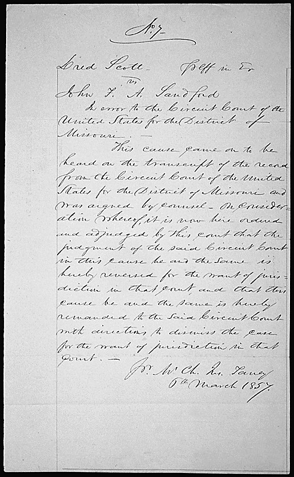 Judgement in the U.S. Supreme Court Case Dred Scott v. John F. A. Sandford, March 6, 1857