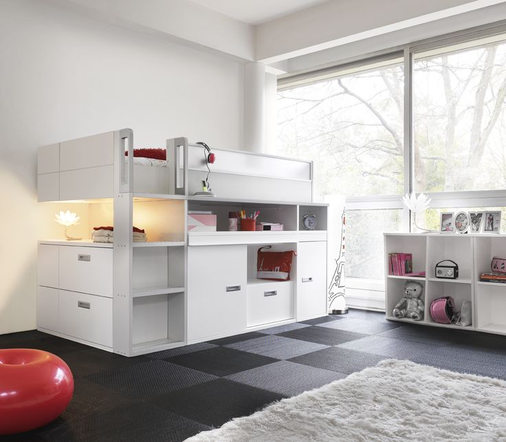 Girls' Dimix High Compact Bed -  This ultimate high bed oozes contemporary style and is a teenagers dream bursting with ingenious features and harmonious colours.