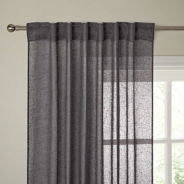 BuyJohn Lewis Kaolin Hidden Tab Top Voile Panel, Steel Online at johnlewis.com